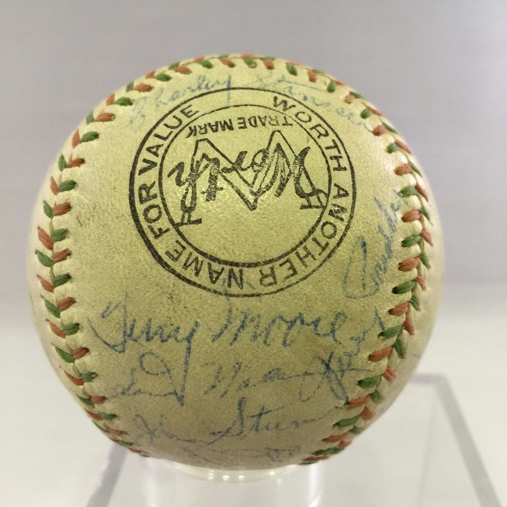 Beautiful 1942 St. Louis Cardinals Yankees World Series Team Autographed Baseball Psa Image a