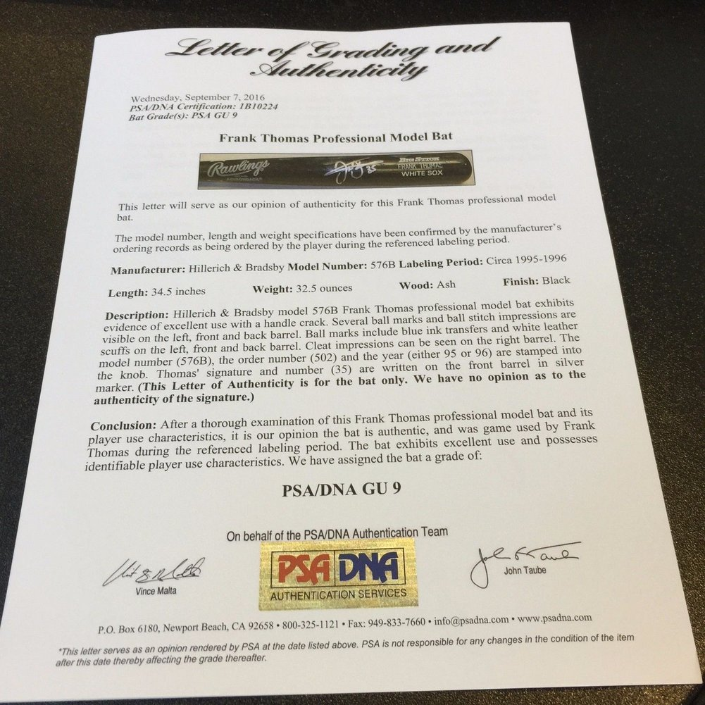 1995 Frank Thomas Autographed Game Used Baseball Bat - PSA/DNA Certified Gu 9 Image a