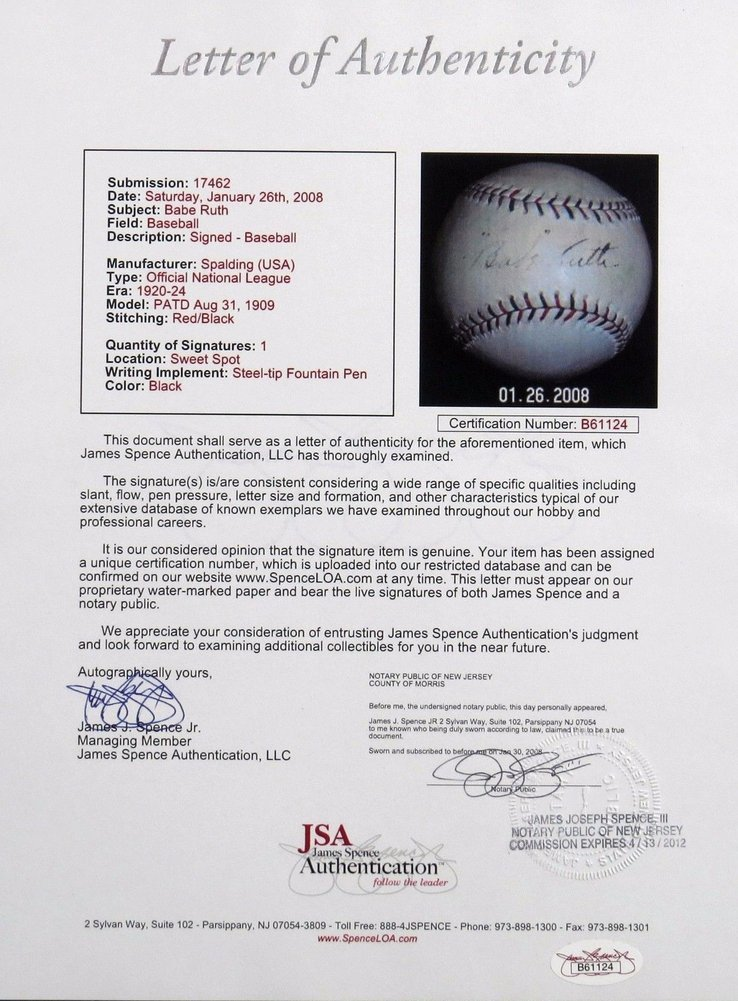 1917-1918 Babe Ruth Early Career Single Autographed National League Baseball - JSA Certified Image a