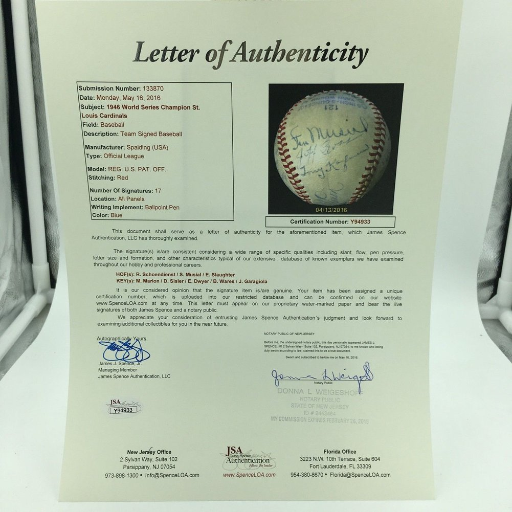 1946 St. Louis Cardinals World Series Champions Team Autographed Baseball - JSA Certified Image a