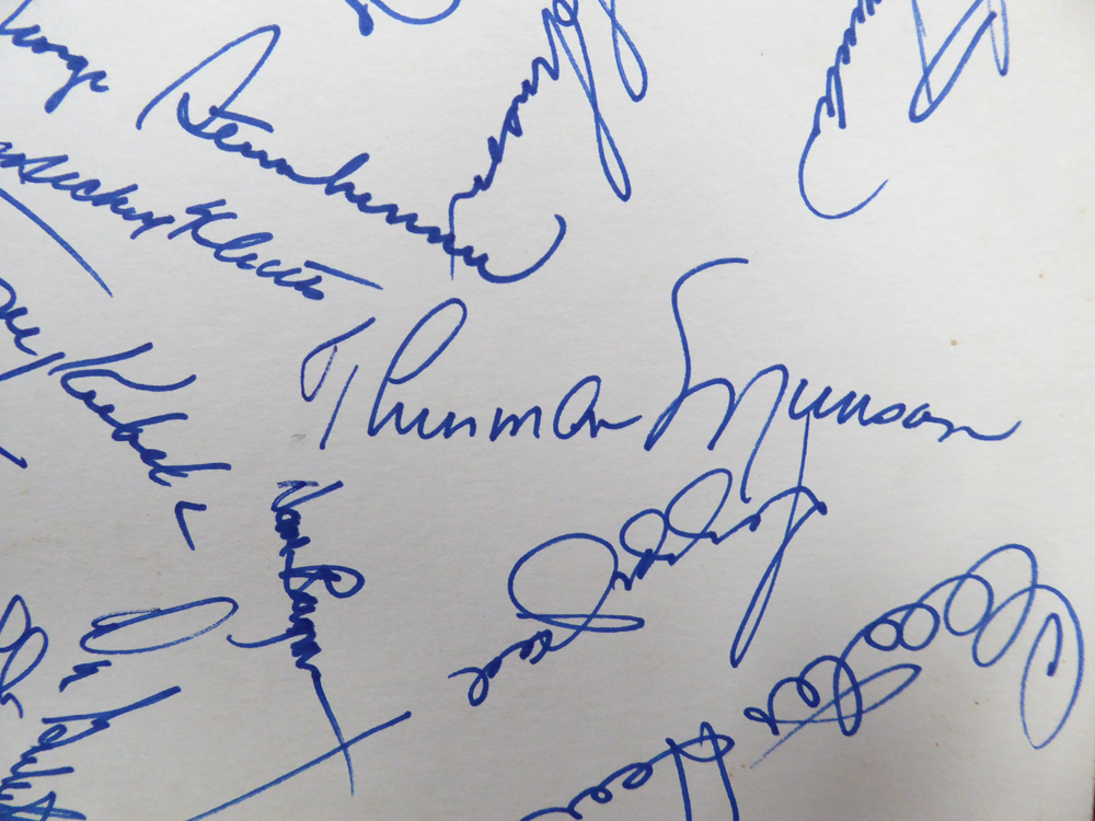 1977 New York Yankees Autographed 11x14 Team Sheet With 44 Signatures Including Thurman Munson, George Steinbrenner, Billy Martin, Yogi Berra & Reggie Jackson - JSA Certified Image a